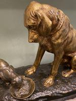 Delightful Patinated Bronze Animalier Study of a Domestic Dog & Cat (2 of 6)