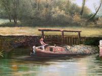 Superb Large Vintage Gilt-Framed Landscape Oil Painting of Barge on the Canal (7 of 13)