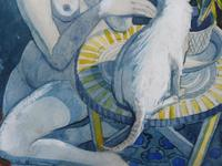 Watercolour Nude with Cat Listed Artist James Gorman (11 of 14)