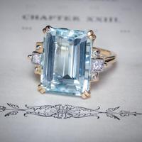 Vintage Aquamarine Diamond Ring 14ct Gold 12ct Emerald Cut Aqua (8 of 8)