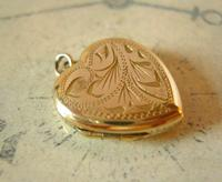 Vintage Pocket Watch Chain Photograph Fob 1940s 9ct Rolled Gold Puffy Heart Fob (7 of 10)