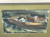 Scottish Mixed Media Painting Cottages in Ayrshire Signed Robert Sinclair Thomson 1915-1983 ARSA, RSW (2 of 27)