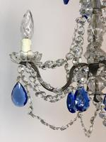 Vintage French Chandelier 4 Arm Crystal Ceiling Light with Sapphire Blue Glass (4 of 13)