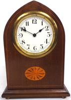 Solid Mahogany Lancet Cased Timepiece Clock with Satinwood Inlaid Decoration (3 of 9)