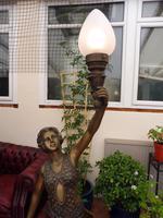 2 Bronze Art Nouveau Style Lamps (3 of 12)