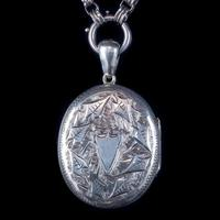 Antique Victorian Locket Collar Necklace Silver c.1880 (3 of 8)