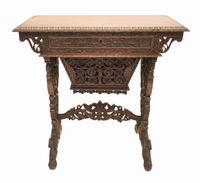 Antique Burmese Work Box - Desk Writing Table 1890 Hardwood (2 of 13)