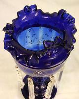 Antique Victorian Pair of Bristol Blue Mantle Lustres (4 of 7)