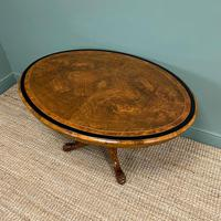 Victorian Oval Figured Walnut Inlaid Antique Side Table (6 of 7)