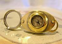 Victorian Pocket Watch Chain Fob 1890 Antique Magnifying Glass & Compass Swivel Fob