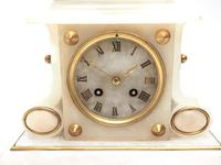 Fine French 8-Day Mantel Clock Alabaster Clock with Ormolu Mounts Striking A Bell (8 of 10)