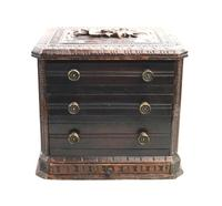 Black Forest Miniature Apprentice Piece Carved Chest 19th Century (3 of 11)