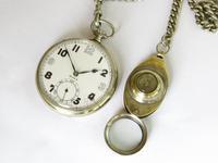 1940s Doxa Pocket Watch, Chain & Compass Fob (2 of 5)