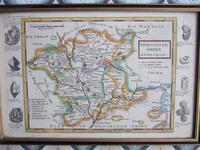 Hand Coloured Engraved Map of Worcestershire by Herman Moll ca 1724