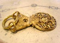 Georgian Pocket Watch Chain Fob 1830s Antique Large Brass Verge Balance Cock Fob (7 of 9)