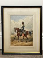 Military Watercolour Prince of Wales Own 10th Royal Hussars Guard on Horseback by Henry Martens c.1850 (2 of 53)