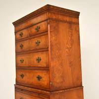 Antique Burr Elm Chest on Chest of Drawers (5 of 10)