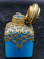 Old Palais Royal Blue Opaline Glass Perfume Bottle with a Miniature of Paris (4 of 6)