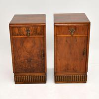 Pair of Art Deco Burr Walnut Bedside Cabinets (2 of 12)