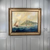 Antique French marine seascape oil painting of Mont St Michel signed Shimmin (2 of 10)
