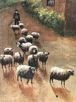 Victorian Oil Painting Shepherd & Flock Of Sheep Circa 1891 (4 of 13)