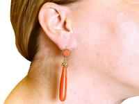 Coral & 20ct Yellow Gold Drop Earrings - Antique c.1830 (9 of 9)