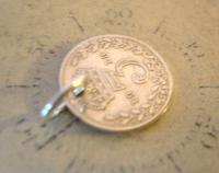 Antique Pocket Watch Chain Fob 1913 Lucky Silver Threepence Old 3d Coin Fob (4 of 6)