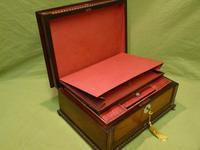 QUALITY Inlaid Rosewood & Amboyna Jewellery – Work Box. c1840 (13 of 16)