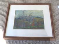 """Doreen Heaton Potworowska Gouache """"Landscape"""" Painting c.1960"""
