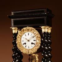 Original Ebonised & Brass Inlaid French Portico Clock c.1870 (7 of 7)