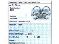 Cultured Pearl, 0.92ct Diamond, Platinum & 18ct White Gold Clip on Earrings - Vintage c.1950 (8 of 9)