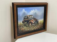 """Oil Painting """"Unloved Abandoned VW Beetle Car"""" Signed David Robert (25 of 27)"""