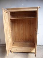 Great Panelled Antique Pine 2 Door 1 Drawer Knockdown Wardrobe to wax / paint (9 of 11)
