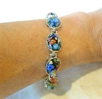 "Vintage Silver & Milliflori Glass Bracelet 1970s Length 7 3/4"" Heavy 23.7 Grams (11 of 12)"