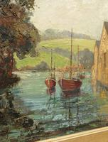 Large Framed Oil Painting of Boats at Totnes by Dorothy Bradshaw (12 of 13)