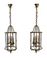 Rare Pair of Mid 20th Century Brass Lanterns