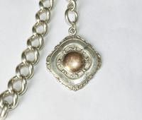 Heavy Antique Single Silver Watch Chain & Fob (2 of 3)