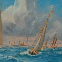 A rare painting of 1930 America's Cup racing off Newport, signed 'Harold Wyllie' (9 of 12)