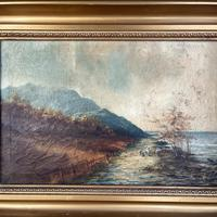 Antique Scottish Landscape Oil Painting with Sheep on Track by Loch Signed B Clark 1918 (3 of 10)