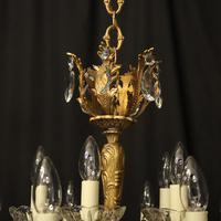 Italian 15 Light Gilded Brass Antique Chandelier (7 of 10)