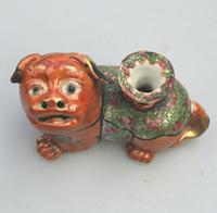 Chinese Canton Famille Rose Porcelain Buddhist Lion Candlestick 19th Century (2 of 9)