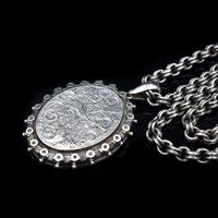Antique Aesthetic Large Sterling Silver Locket with Belcher Chain Collar (6 of 11)