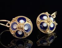 Vintage Russian enamel earrings, silver gilt (7 of 8)