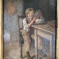 Antique Georgian oil painting study of boy in kitchen scullery with pewter plate (6 of 10)