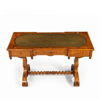 Victorian Walnut Marquetry Writing Table attributed to Edward Holmes Baldock (14 of 17)