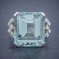 Art Deco Aquamarine Diamond Ring Platinum 25ct Emerald Cut Aqua c 1930 (4 of 5)