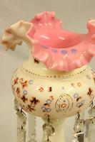 Antique Victorian Single Pink & Cream Glass Mantle Lustre (2 of 6)