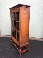 Antique Slim Glazed Oak Bookcase (8 of 11)