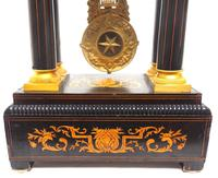 Antique Satinwood Inlaid Mantel Clock Rosewood French Striking Portico Mantle Clock (4 of 11)
