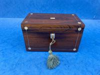 William IV Rosewood Twin Section Tea Caddy with Mother of Pearl Inlay (13 of 14)